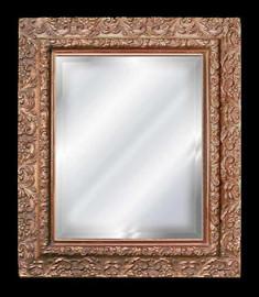 "Classic Elements 27.5"" X 24.5"" Rectangular Shape Beveled Glass Reproduction Mirror, Gold Leaf Finish, 2030"