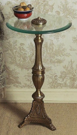 Beveled Glass Top - 24.5 Inch Pedestal Table - Antique Brass Finish