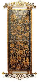 "Black & Floral Gilt 73"" Decorative Tapestry"