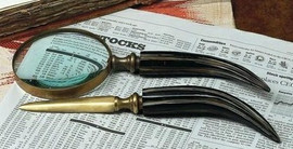 Brass & Horn Bureau Plat Desktop Letter Opener & Magnifying Glass Set