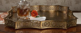 Rectangular Scalloped Edge Gallery Tray in Antique Brass