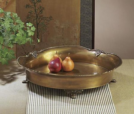 Round Antique Brass, 16.5 dia Footed Gallery Tray