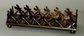 Brass Dragon Fly Guest Towel Tray, Antique Brass Finish, Set of Two