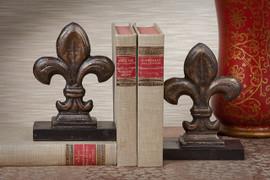 Bookends , Fleur de Lis Design Antique Bronze Finished Iron, Set of 2