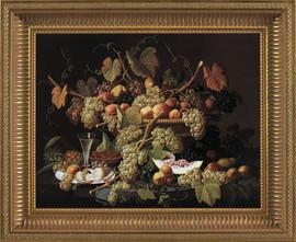 "Ecstatic Fruit - Severin Roesen - Framed Canvas Artwork 6253CB 32.5"" X 26.5"""