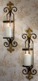Wall Sconce, Fleur de Lis, Antique Brass, Pair