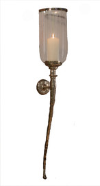 Hurricane Wall Sconce, Hammered Nickel, 42""