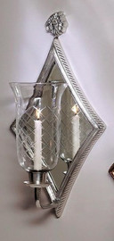 """Brass & Mirror Taper Candle 22"""" Hurricane Wall Sconce, Antique Silver Finish, 1852"""