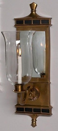 """Brass & Mirror Taper Candle 22"""" Hurricane Wall Sconce - Antique Brass Finish"""