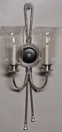 2 Candle Hurricane Wall Sconce, Black & Antique Silver, Tassel Motif