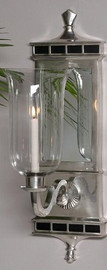 """Brass & Mirror Taper Candle 22"""" Hurricane Wall Sconce, Antique Silver Finish, 1847"""