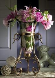 "Antique Brass & Glass 22"" Tabletop Vase"