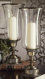 Brass, Footed Hurricane Lamp, Antique Brass Finish 1838|222TN