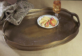 Oval Scalloped Edge Gallery Tray in Antique Brass, 25L X 18W
