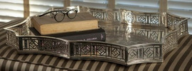 Rectangular Scalloped Edge Gallery Tray in Antique Silver