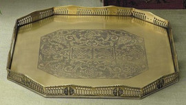 Rectangular Serving Tray in Antique Brass