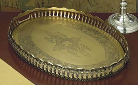 Oval Serving Tray in Antique Brass