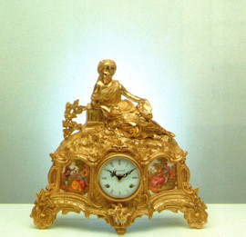 Fancy d'Oro Ormolu - Portrait Porcelain Mantel, Table Clock - Choose Your Finish - Handmade Reproduction of a 17th, 18th Century Dore Bronze Antique, 6731