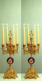 Cobalt Blue Porcelain & Brass Ormolu, 14.96 Inch, 5 light Courtship Portrait Candelabra Set, French Gold Gilt Patina - Handmade Reproduction of a 17th, 18th Century Dore Bronze Antique, 6732