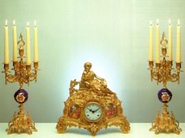 "Antique Style Blu Garniture, Cobalt Blue Italian Porcelain & Brass Ormolu Mantel, Table Clock, 14.96"", Five Light Courtship Portrait Candelabra Set, French Gold Gilt Patina, Handmade Reproduction of a 17th, 18th Century Dore Bronze Antique, 485"