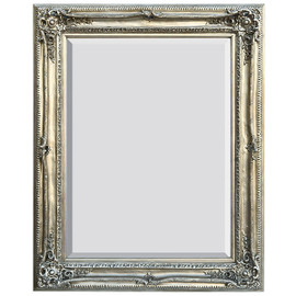 "French Baroque Louis XIV Style, 5.25"" Wide Frame, 51"" Large Antiqued Silver Drama Bevel Glass Mirror, 1742"