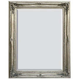 "French Baroque Louis XIV Style, 5.25"" Wide Frame, 59"" Extra Large Antiqued Silver Drama Bevel Glass Mirror"
