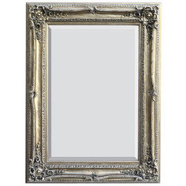 "French Baroque Louis XIV Style, 5.25"" Wide Frame, 47"" Large Antiqued Silver Drama Bevel Glass Mirror, 1741"