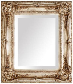 "French Baroque Louis XIV Style, 5.25"" Wide Frame, 35"" Medium Antiqued Silver Drama Bevel Glass Mirror"