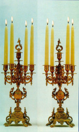Brass Ormolu 19.68 Inch Five light Candelabra Set, French Gold Gilt Patina - Handmade Reproduction of a 17th, 18th Century Dore Bronze Antique, 6725