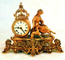 Fancy d'Oro Ormolu - Desk, Mantel, Table Clock - Girl with a Whippet - Choose Your Finish - Handmade Reproduction of a 17th, 18th Century Dore Bronze Antique, 1718