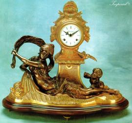 "18.5"" Gilt Brass Ormolu Marble Mantel, Table Clock - Handmade Reproduction of a 17th, 18th Century Dore Bronze Antique, 1717"