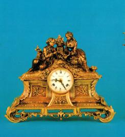 #Victor Hugo's Summer Courtship, Polychrome - Ornamental d'Oro Ormolu - Desk, Mantel, Table Clock - Choose Your Finish - Handmade Reproduction of a 17th, 18th Century Dore Bronze Antique, 6724