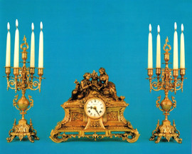 #Antique French Style Garniture, Brass Ormolu, Victor Hugo's Summer Courtship, French Mantel, Table Clock & 5 Light Candelabra Set, Polychrome and French Gold Gilt Patina, Handmade Reproduction of a 17th, 18th Century Dore Bronze Antique, 6723