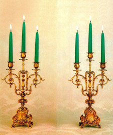 Brass Ormolu, Louis XV, Rococo, 16.53 Inch Three light Shallow Body Candelabra Set, French Gold Gilt Patina - Handmade Reproduction of a 17th, 18th Century Dore Bronze Antique, 6721
