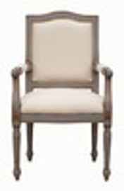 Custom Decorator - Hardwood Hand Carved Reproduction - Louis XVI Style Neo Classical Fauteuil - 40.9 Inch Dining Arm Chair - Upholstered Back and Seat