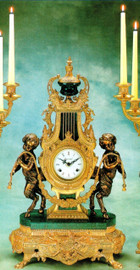 Verde Delle Alpi, Green Italian Marble & Brass, 24.40 Inch Ormolu Mantel, Table Clock, French Gold Gilt Patina - Handmade Reproduction of a 17th, 18th Century Dore Bronze Antique, 6718