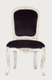 Custom Decorator - Hardwood Hand Carved Reproduction - Louis XV Style Rococo - 39.4 Inch Dining Side Chair - Upholstered Back and Seat