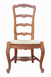#Custom Decorator - Hardwood Hand Carved Reproduction - Rococo Style Ladder Back - 47.6 Inch Dining Side Chair - Rush Seat - 1640