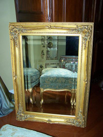 "French Baroque Louis XIV Style, 5.25"" Wide Frame, 26.75"" Small Soft Gold Leaf Drama Bevel Glass Mirror, 1621"