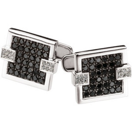 2 ct Black & White Diamond Cuff Links