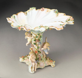 A Meissen Style Tabletop, 9t X 11L X 9d Porcelain Pedestal Bowl | Compotier