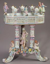 A Meissen Style Tabletop, 22.5 Inch Porcelain Pedestal Bowl | Compotier