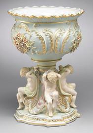 A Meissen Style Tabletop, 17 Inch Porcelain Pedestal Compotier Bowl