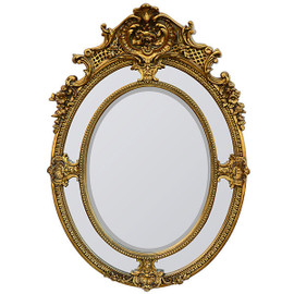 Oval Rococo Louis XV Style Floral & Shell Gilt Wood & Gesso Gold Mirror