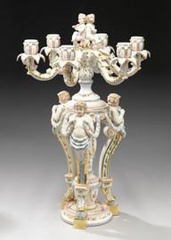 A Meissen Style Tabletop, 26 Inch Porcelain Candelabrum, 6709