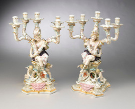 A Meissen Style Tabletop, 22 Inch Porcelain Candelabra Pair