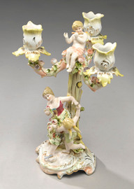 A Meissen Style Tabletop, 10.5 Inch Porcelain Candelabra Pair