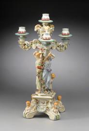 A Meissen Style Tabletop, 25t X 14w X 14d Porcelain Candelabrum, 6706