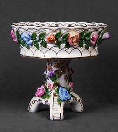 A Meissen Style Tabletop, 8.5 Inch Porcelain Compotier Bowl