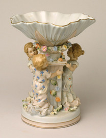 A Meissen Style Tabletop, 10t X 8w X 8d Porcelain Compote